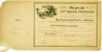 """Image of $500 bond issued by Confederate States of America, 6 percent. payable """"two years after ratification of a treaty of peace with the United States""""  (non-taxable certificate) - 2001.0703"""
