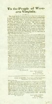 """Image of Broadside """"To the people of Western Virginia"""" issued in Charleston, Va (now W.Va.), by Confederate Gen. W. W. Loring, 1862 - 2001.0703"""