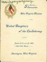 Image of Program of the W.Va. Division, United Daughters of the Confederacy, Oct. 8 thru 10, 1902, Huntington, W.Va.  - 2001.0703