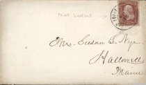 Image of Envelope with 3 cent us stamp, postmark for Point Lookout, Md. prisoner of war camp, ca. 1861-65. - 2006.0703