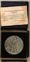 Image of WWI honor medal awarded by ACF (American Car & Foundry) for work on munitions contract, boxed, medal dated 1917-1918, made by Gorham Co. of NY.