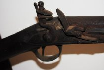 Image of Smoothbore flintlock musket, .75 caliber.  55 inches length overall 41 inch round barrell No markings  - 2009/04.0769