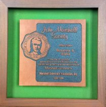 Image of Engraved appreciation plaque to Rosanna A. Blake for contribution to Marshall Foundation, making her a member of the John Marshall Society, framed. - 2001.0703