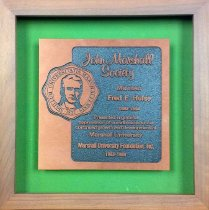 Image of Engraved appreciation plaque to Fred Hulse for contribution to Marshall Foundation,