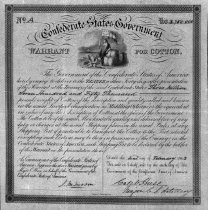Image of Confederate States warrant for cotton, to sell cotton to British Government, Feb. 1863 - 2006.0703