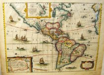 "Image of Copperplate map of western hemisphere, ""America Noviter Delineata,"" 1631, hand-colored - 2015/07.0826"