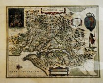 """Image of Henricus Hondius' copy of John Smith's """"Map of Virginia,"""" 1639, hand-colored - 2015/07.0826"""