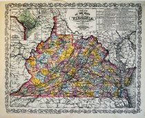 Image of New map of State of Virginia Exhibiting its internal improvements, distances, etc., 1857, color lithograph - 2015/07.0826