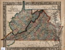 Image of County map of Virginia and West Virginia, 1860, color lithograph - 2015/07.0826