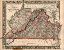 Image of County map of Virginia and West Virginia, 1863, color lithograph - 2015/07.0826