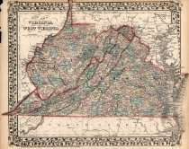 Image of County map of Virginia and West Virginia, 1870, color lithograph - 2015/07.0826
