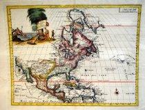 Image of Carta Geographica dell America Settentrionale, Guillaume De L'Isle map of North America, 1750, hand-colored - 2015/07.0826