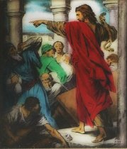 Image of Victor animatograph slide: Driving out Money Changers