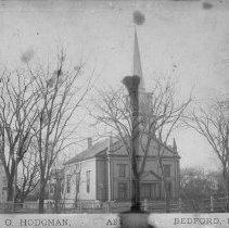 "Image of Print, Photographic - Hodgman print of Congregational Church and parsonage. Caption: ""Chas. O. Hodgman, Art___ [damaged], Bedford, Mass. Plus negative of same."