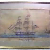 """Image of Painting - Watercolor painting, """"Barque Nile, Charles O. Gragg, leaving the port of Genoa the 6th of June, 1839, for Leghorn and Boston."""" Framed. Charles O. Gragg was a ship's captain who lived in Bedford. ALSO UNDER OBJECT # P121"""