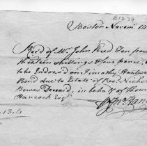 """Image of Receipt - Receipt, John Hancock paid by John Reed, 10 pounds 13 shillings four pence, """"being to be endors'd on Timothy Hartwell's bond due to Estate of Rev. Nicholas Bowes Deceas'd, in behalf of Thomas Hancock Esq."""" Boston, November 14, 1758. Signed by John Hancock."""