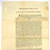 Image of Appointment, Justice of the Peace - Appointment of John Reed Esq. as Justice of the Peace for Middlesex County by John Hancock, Governor of MA on March 27, 1781. Signed by John Avery, Sect. and John Hancock.