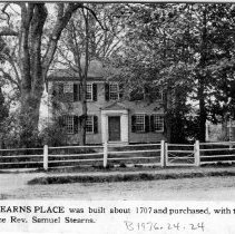"""Image of Print, Photographic - B&W photograph, clipped from an unidentified publication, of 26 The Great Road. Caption: """"The Stearns Place was built about 1707 and purchased, with twenty acres of land, by the Rev. Samuel Stearns."""" On reverse of clipping, a photo of """"The Old Oak, Wilson Park."""""""