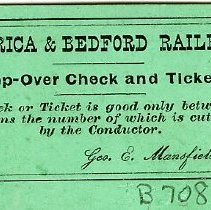 Image of Ticket - Billerica & Bedford Railroad Stop-Over Check and Ticket