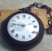 """Image of Watch, Pocket - Bull's eye watch, """"belonging to Job Webber who was born in 1796 and lived until 1838."""" Size 5-1/2 cm round, with chain. A gift of his granddaughter Eliza Park of Lowell."""