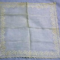 Image of Handkerchief - Handkerchief, circa 1800. Approximately 33 cm square. Finely woven linen (?) with embroidery all around. Said to be 180 years old.