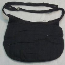 Image of Bustle - Woman's bustle, 1890. Black cotton pad to fit in back, with buttoned waist.