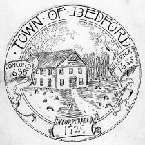 Image of Drawing - Pen and ink sketch of the original Bedford Town Seal, by Abram English Brown.