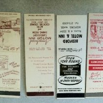 Image of Matchbook - Vintage Matchbook Covers, purchased on Ebay: a: Bedford Motel & Inn (Rte 4 & 225W) b: Arrowhead Motor Inn: Candlelight Dining Room & Aztec Cocktail Lounge - 340 Great Rd. c: Bedford Motel & Inn (with graphic of building) d; Domini Manse (with CRestview 4-7006 #)  **2nd image is digital image from Ebay of Domine Manse dining room.