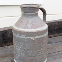 """Image of Jug, Milk - 14"""" high milk jug embossed with """" PRESCOTT CO BEDFORD MASS"""" purchased on Ebay for $59 (local pickup in Burlington, MA)."""