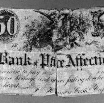 """Image of Certificate, Gift - Printed certificate, torn in half and sewn together, for """"Bank of Affection"""""""