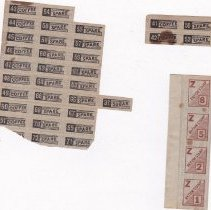 Image of Stamp, Ration - Ration Stamps, WWII, found when 27A Carlisle Road was moved to Harvard by the Leemings