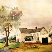 Image of Painting - Watercolor painting by John Dodge of the Senften Farm (now Bedford Shopping Center) at ~ 180 Great Road. The Senften's were the artist's in-laws.