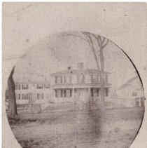 Image of Photograph - a:Circular photographic image of 63-65 South Road, the Amos Hartwell House. b,c: 2 copies of front view of 63-65 South Road, taken by Hodgman d: Hodgman photo of South road taken from just south of 63-65 South Road, looking north, with the Unitarian Church in the distance.