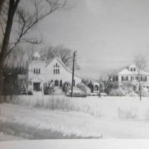 Image of Photograph - Photo of St. Michael's church on the Great Road, with rectory & shrine. Posted on Facebook by Marge Fay, who said it was taken on January 19, 1960.