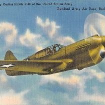 Image of Postcard - Linen postcard, purchased on Ebay of Curtiss Hawk P-40.