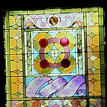 Image of Photograph - Stained glass window during 1964-1965 renovations.