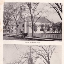Image of Photograph - First Church of Christ Congregational Trinitarian and Trinitarian Congregational Society at 25 Great Road Top: built by the fathers in 1832 Bottom: built by the children in 1886  From A.E. Brown's History of Bedford, Memorial Edition.