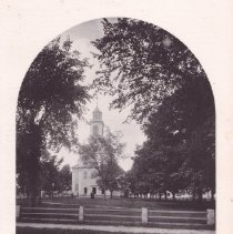 Image of Photograph - Old Parish meeting house (second meeting house built 1817 and included salvaged material from the first meeting house); in 1831 there was a religious divide and they separated into First Church of Christ Congregational and First Parish Church Unitarian (pictured here)  From A.E. Brown's History of Bedford, Memorial Edition.