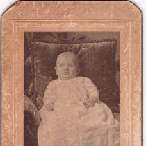 """Image of Photograph - Photo, found in """"a dark corner of the front hall closet at 18 Crescent Ave, Bedford,"""" by the home's owner, Carol Amick. An inscription on the back appears to read: """"Edgar Lyle Armstrong, age 4 mos, 15 days.""""    Based on Ms. Amick's research, this was probably a relative of Ken Armstrong, who married the oldest Christie daughter. 18 Cresent Avenue had been the Christie homestead. After marriage, Ken Armstrong and his wife lived there. The Christies moved to a house on the Great Road (now Univ. of Utah Radiance Lab).  Per Ancestry.com, Edgar Lyle Armstrong was born in 1908 and lived in Waltham."""