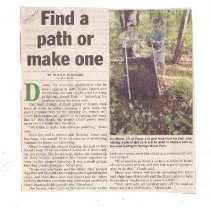 Image of Clipping, Newspaper - Bedford Minuteman article about Boy Scouts making paths at Springs Brook Park