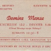 Image of Card, Business - Domine Manse Restaurant business card, Kenneth M. Blake (proprietor).