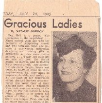 Image of Clipping, Newspaper - July 24, 1945 newspaper clipping about Bedford resident, Peg Hall, who was an artist and was also active in the Red Cross and United War Fund drives in Bedford.