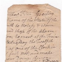 Image of Note - Fragment of a note, presumed to be to Matthew Fitch, and found in the Lane papers, which reads: