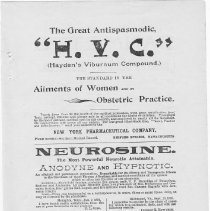 Image of Ad, Print - Flyer/advertisment for a variety of medical remedies, apparently published in the Southern Medical Record. No date, but claims that HVC had been in use for 27 years (~1880s?). Purchased on eBay.