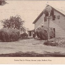 """Image of Postcard - Real Photo Postcard, purchased on eBay, showing barn - titled, """"Storing Hay for Winter, Llewsac Lodge, Bedford, Mass."""" Postmarked May, 1940."""