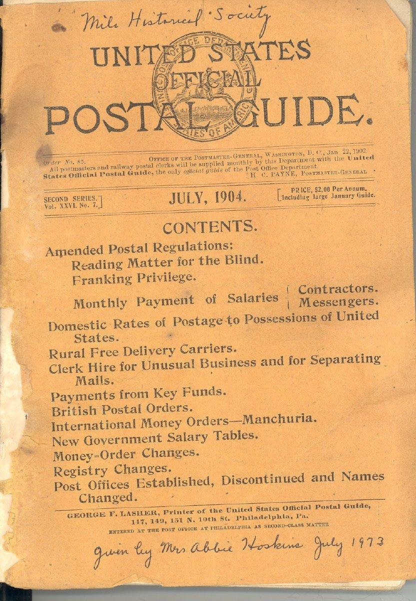 Postal Guide 1904