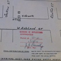 Image of Borough Permits - Philadelphia Electric Co.  Excavation W. Ashland St. at Jackson St. Doylestown Boro  Permit No.# '71-2 Boro Manager: J. G. Pearsall  North Wall; unit 3; self A; box 12 More documentation may be available at DHS