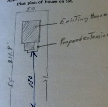 Image of Borough Permits - G. Robert Potts 127 Cottage St.  Doylestown, Pa.  Expand existing room  Same   Building Permit No. #'71-81 Building Inspector: Charles A. Kollo  North Wall; unit 3; self A; box 12 More documentation may be available at DHS