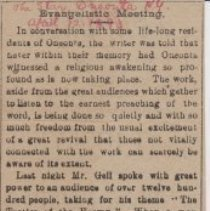 """Image of Geil - """"Evangelistic Meeting"""" The Star, Oneonta, New York, April 12, 1893  2 lectures on """"the tactics of the enemy"""" and """"the great doctrine of the resurrection"""""""