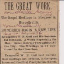 """Image of Geil - """"The Great Work: The Gospel Meetings in Progress in Hornellville: Hundreds Begin a New Life: Evangelist W. E. Geil and His Successful Methods. A Work Especially for Men. Great Interest Throughout All the City. The Meetings to be Continued in the Churches."""" The Hornellsville Morning Times, New York, March 30, 1896"""
